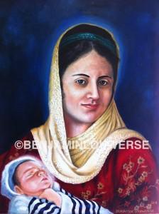 Virgin Mary / Moeder Maria, 2013, 50 x 60 cm , olieverf op canvas - Orientaals geportretteerd. Jezus gewikkeld in een joodse gebedsmantel