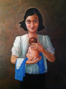 Anne Frank as the Virgin Mary, oil painting on canvas, 60cm X 80cm, 2013 by Benjamin Louwerse